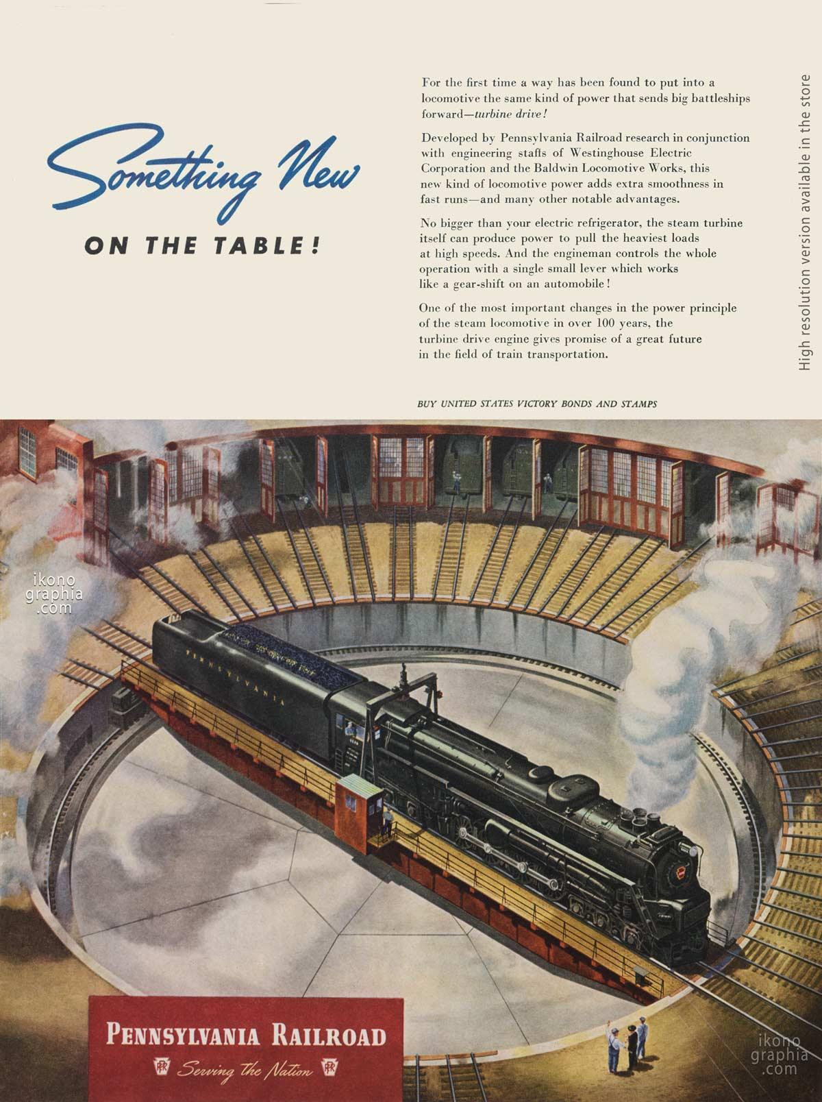 Something New on the table! - Pennsylvania Railroad ad - Life Magazine. December 3, 1945