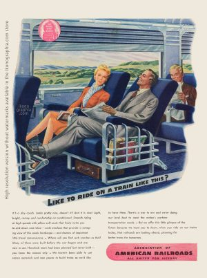Like to ride on a train like this? - American Railroads artwork by John Vickery - Life. May 22, 1944