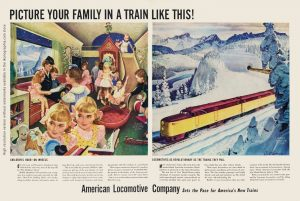 Picture your family in a train like this! American Railroads, artwork by John Clymer - Life. December 2, 1946