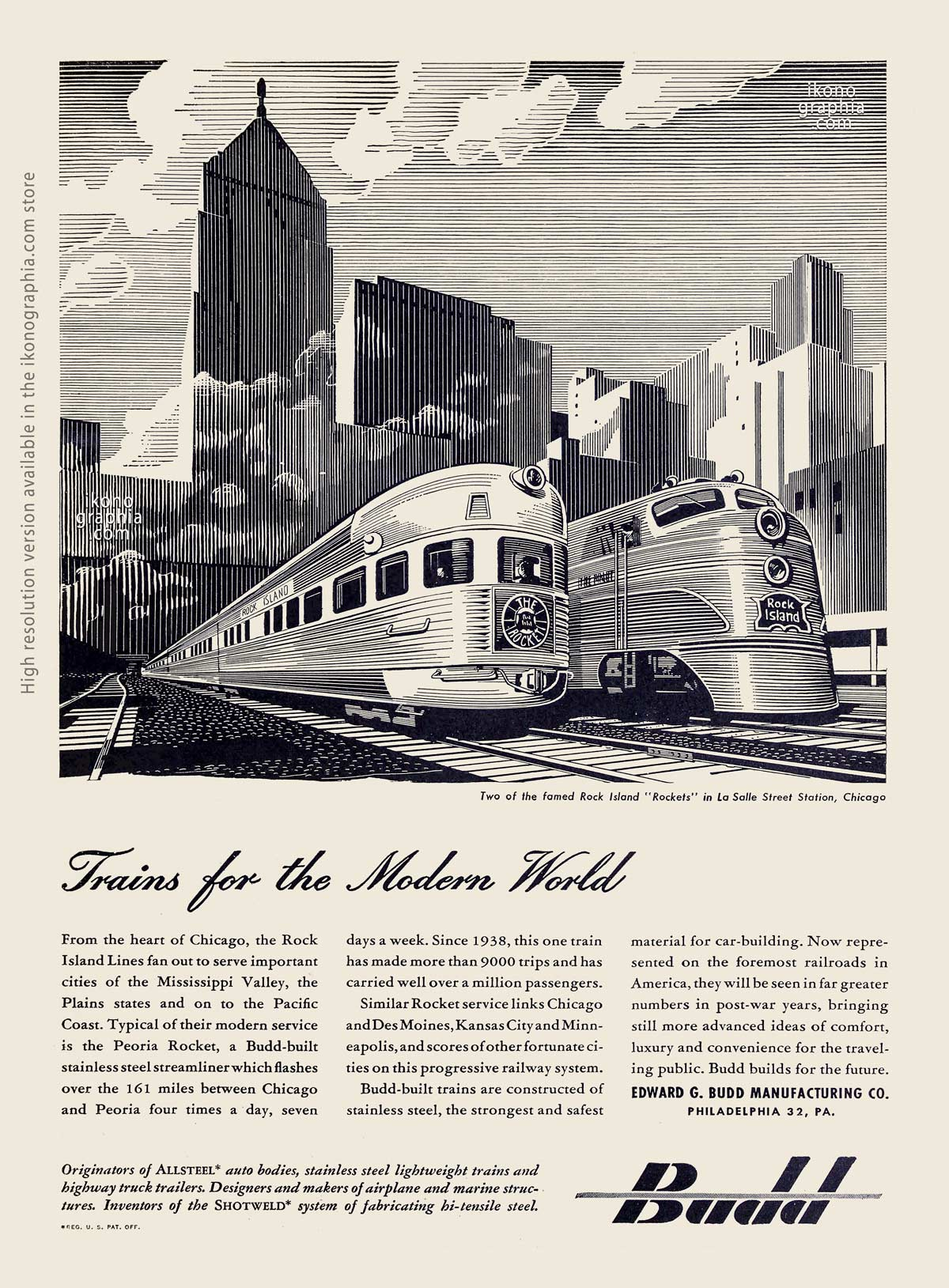 Trains for the Modern World. Budd ad - Nation's Business. September 1944