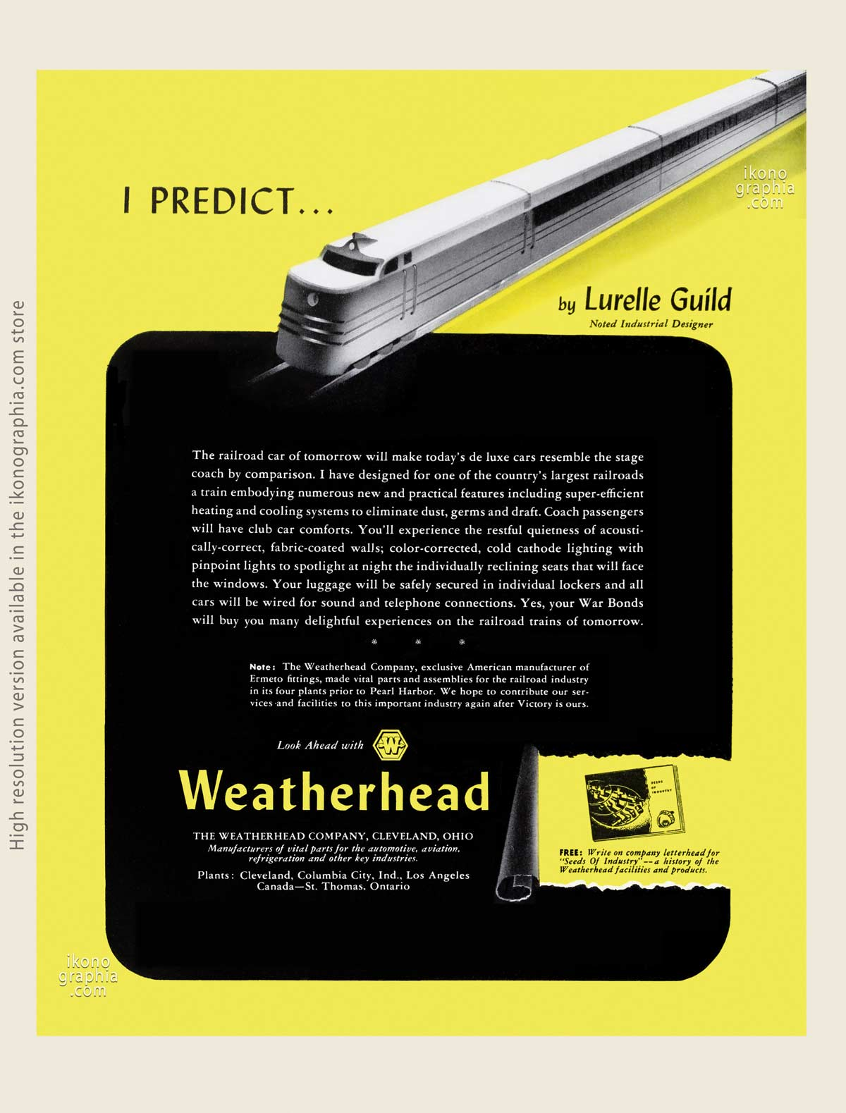 I Predict … by Lurelle Guild - The Weatherhead Company ad. artwork by Lurelle Guild