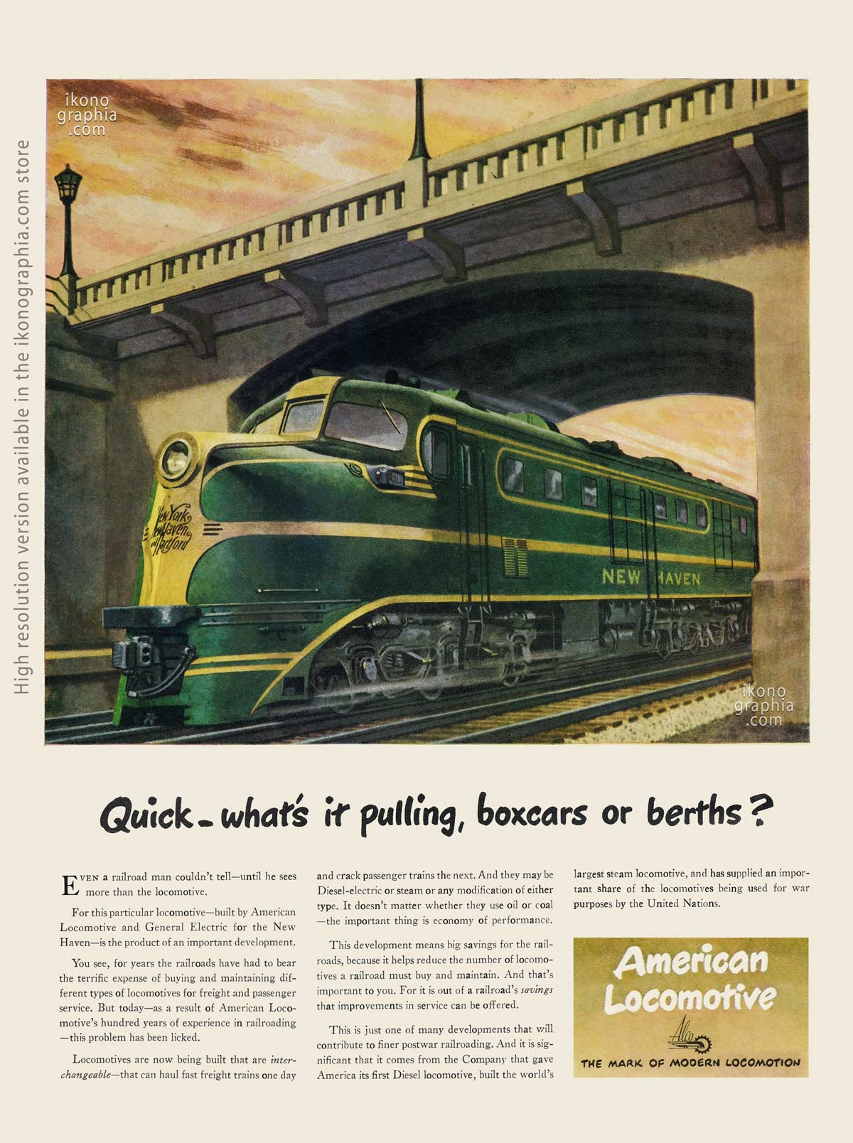 Quick - what's it pulling, boxcars or berths? - American Locomotive ad, artwork by Peter Helck - Life Magazine. April 16, 1945