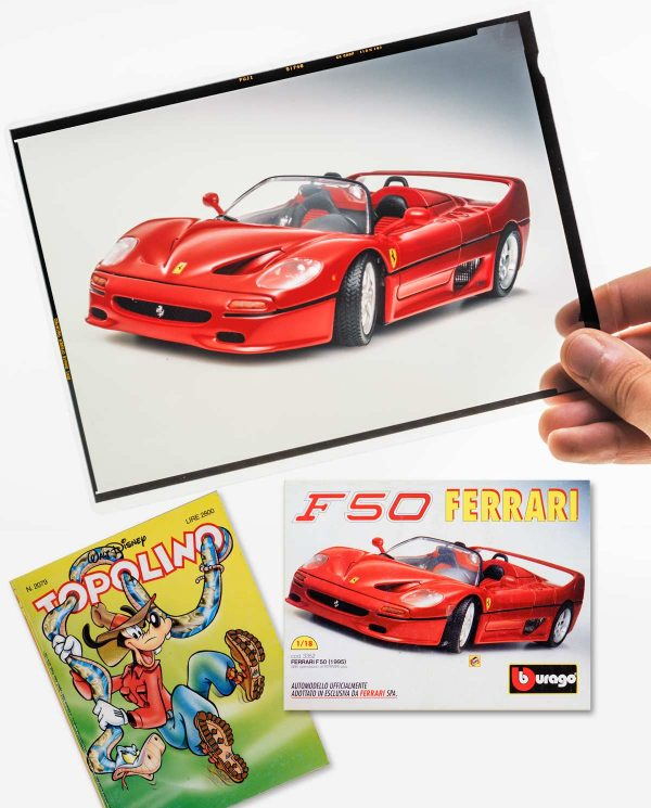 "Bburago 3352 Ferrari F50 Topolino original 13x18cm / 5x7"" transparency Fujichrome Velvia film, used for the back cover of Topolino (The italian edition of Mickey Mouse) N.2085 of November 14, 1985."
