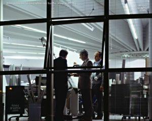 Federico Trombi, Nicola Materazzi and Achille Bevini in the designer's Building at Bugatti Auromobili. Photo by Roberto Bigano. Buy this image in the ikonographia.com store.