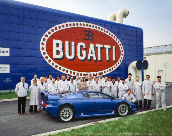 "1936_68 The Bugatti ""Reparto Esperienze"", Development Divison employees with the first EB110 Prototype as designed by Marcello Gandini. Photo by Roberto Bigano. Buy this image in the ikonographia.com store."