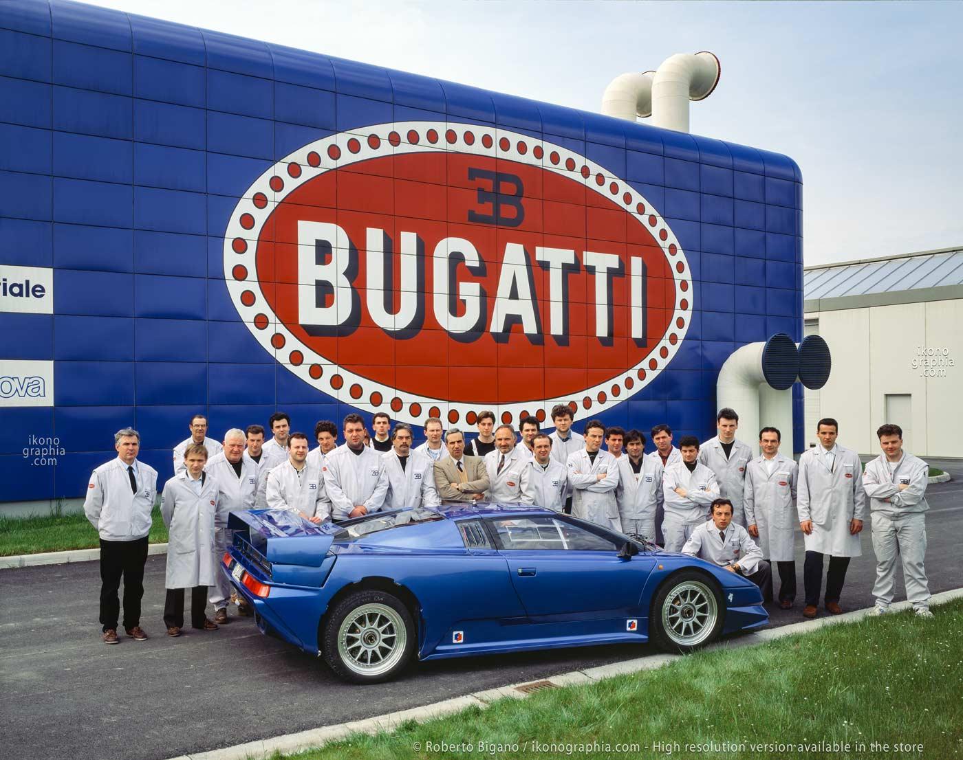 "1936_68 The Bugatti""Reparto Esperienze"", Development Divison employees with the first EB110 Prototype as designed by Marcello Gandini. Photo by Roberto Bigano. Buy this image in the ikonographia.com store."