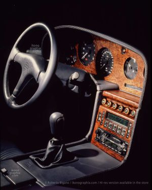 The control panel with the steering wheel with the EB logo and the Nakamichi hi-fi system. Photo Roberto Bigano. Buy this image in the ikonographia.com store.