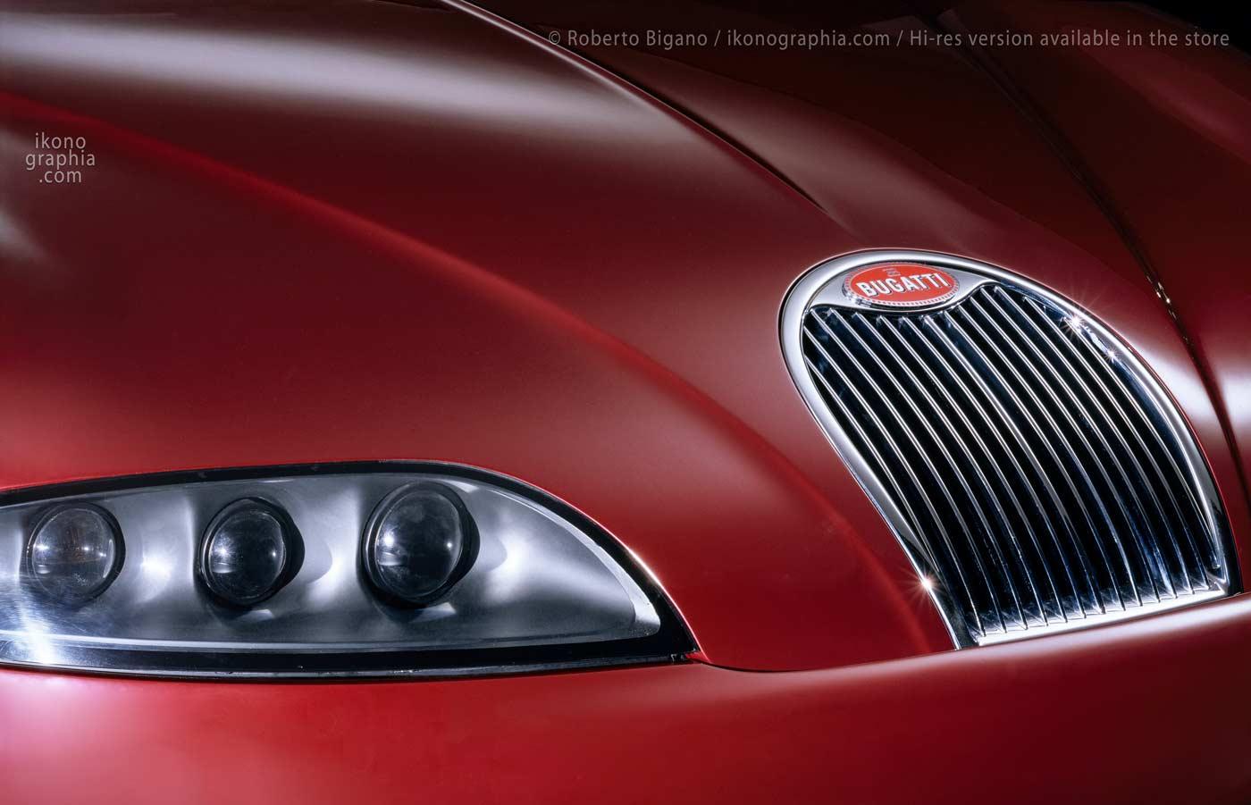 Bugatti EB 112. A detail of the striking design by Giorgietto Giugiaro with the catching radiator grill. Photo Roberto Bigano. Buy this image in the ikonographia.com store.