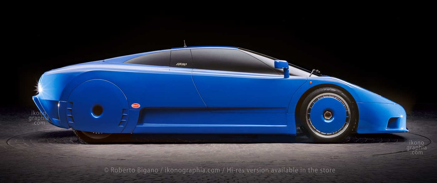The very first EB110 model made in epowood as designed by Benedini, with the rear wheels covered reminding the Bugatti Atlantic.  Photo Roberto Bigano. Buy this image in the ikonographia.com store.