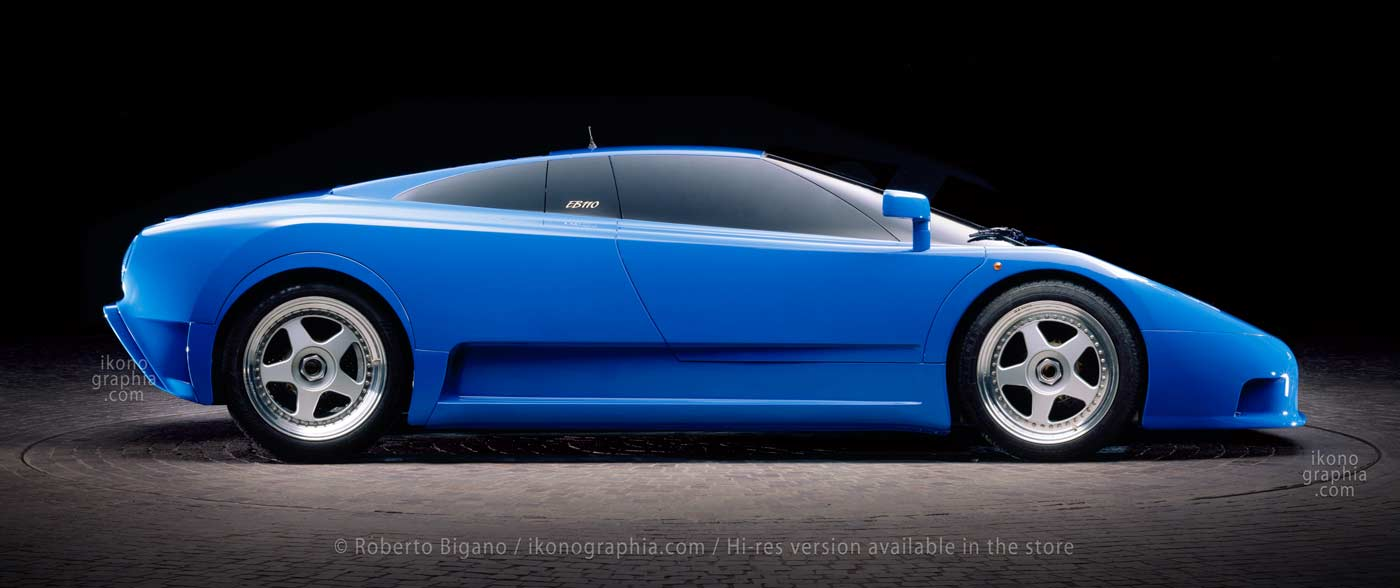 Bugatti EB110 GT Prototipo. The design was very similar to the model shown above, except for the rear wheels. Photo Roberto Bigano. Buy this image in the ikonographia.com store.