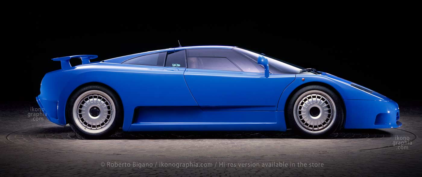 """Bugatti EB110 GT with raised rear wing. An """"impossible shot"""" as the rear wing would normally be raised only when the car is running.Photo Roberto Bigano. Buy this image in the ikonographia.com store."""
