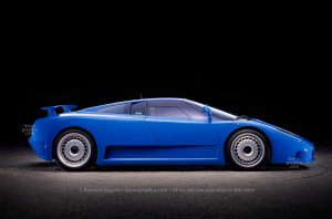 """Bugatti EB110 GT with raised rear wing, an """"impossible shot"""" as the rear wing would normally be raised only when the car is running. Photo Roberto Bigano. Buy this image in the ikonographia.com store."""