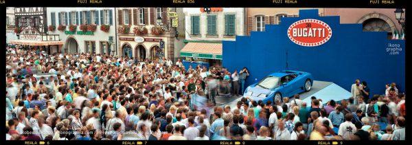 The Bugatti EB110 on display at Molsheim. September 1991. Photo Roberto Bigano. Buy this image in the ikonographia.com store.