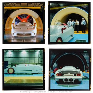 Optimizing the aerodynamics of the Bugatti EB 110 at the Pininfarina Wind Tunnel, which has been, since 1972, a Center of Excellence for research and development in the field of aerodynamics and aeroacoustics.. Four snapshots. Photo Roberto Bigano. Buy this image in the ikonographia.com store.