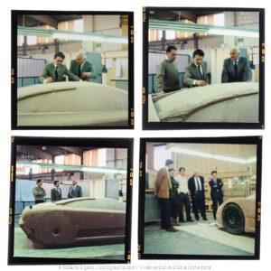 Campogalliano. Marcello Gandini, Romano Artioli, and Gianpaolo Benedini discussing the Bugatti EB110 design. Four snapshots. Photo Roberto Bigano. Buy this image in the ikonographia.com store.