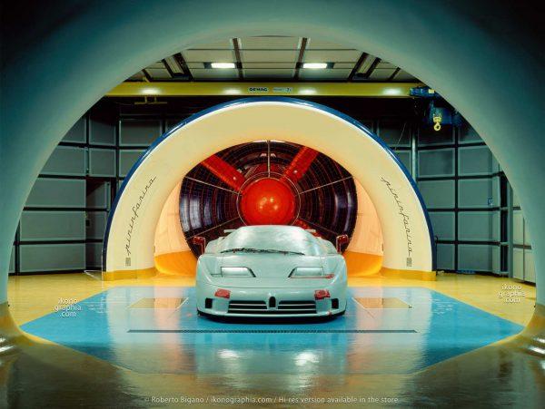 The model of the Bugatti EB110 at the Pininfarina Wind Tunnel. Photo Roberto Bigano. Buy this image in the ikonographia.com store.