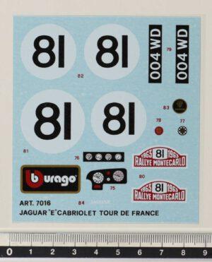 Bburago 7016 Jaguar E Cabriolet Tour De France. Original Vintage