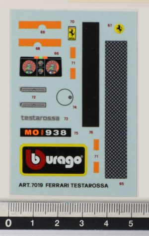 Bbburago 7019 kit Ferrari Testarossa 1984 - Original Vintage Decal li