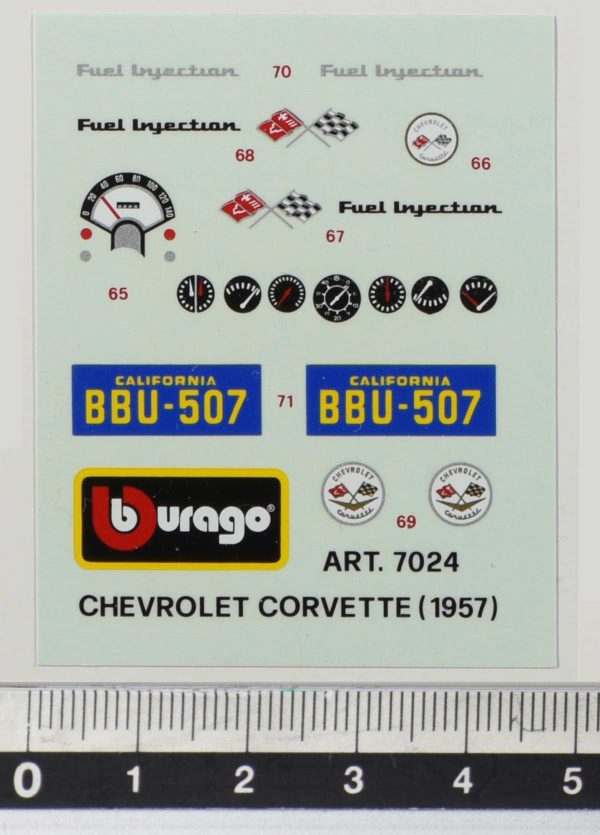 Bburago 7024 Chevrolet Corvette 1957 - Original Vintage Decal li