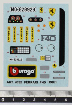 Bburago 7032 Ferrari F40 1987 - Original Vintage Decal like new.