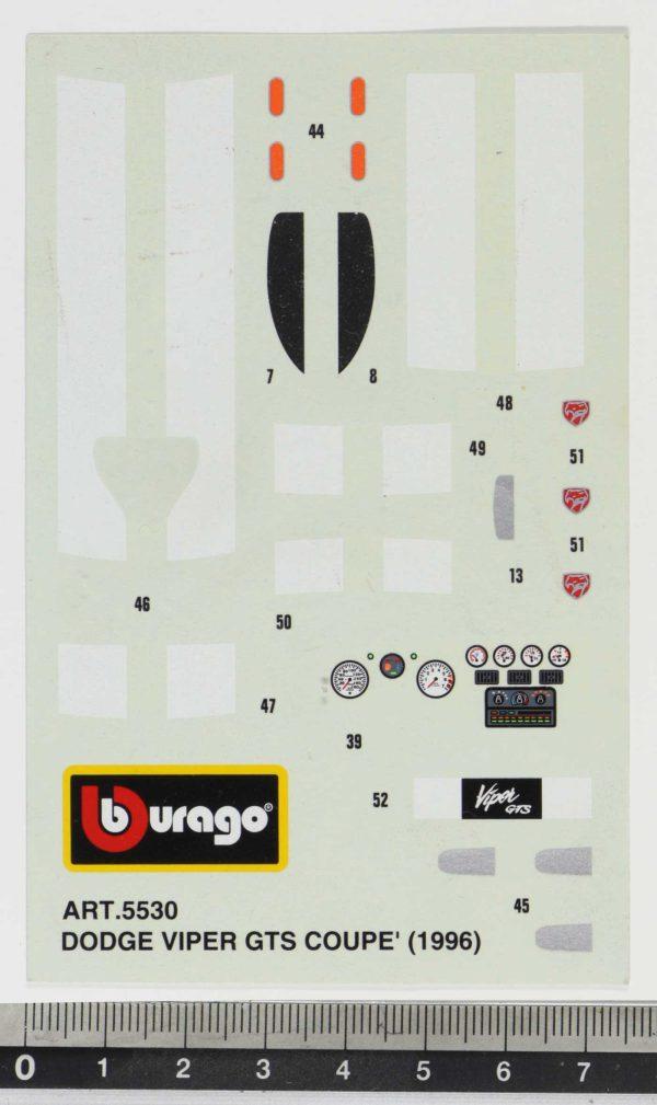 Bburago 5530 Dodge Viper GTS Coupè 1996 Decals